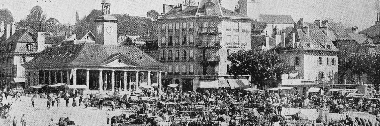 Place du Marché - source: Mon voyage en Suisse, comptoir de phototypie de Neuchâtel