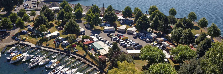 Vue aérienne du camping de la Pichette