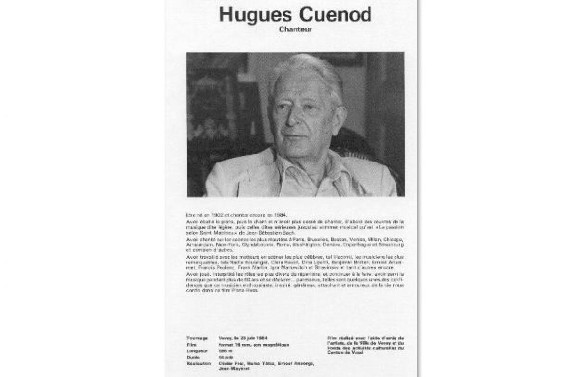 Hugues Cuenod Fiche PlansFixes 1984