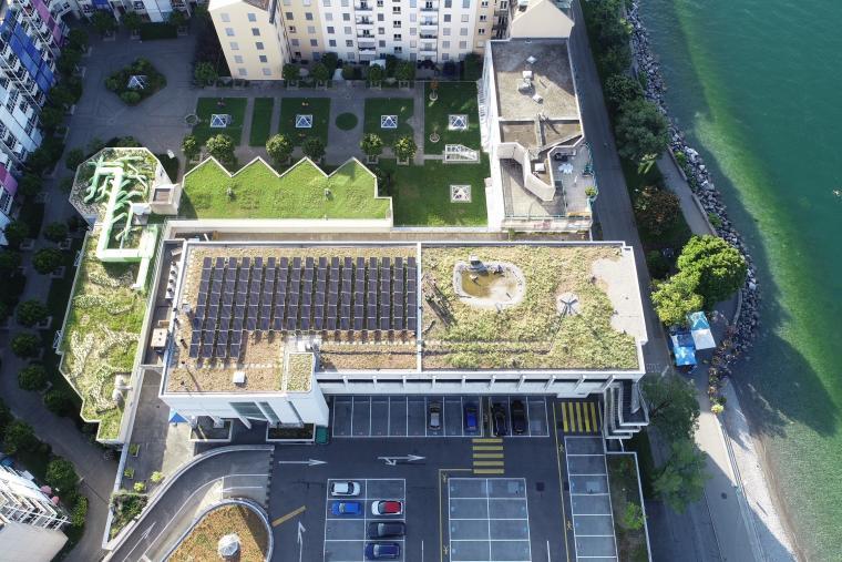 Centrale photovoltaïque et végétalisation de la toiture d'une école à Vevey